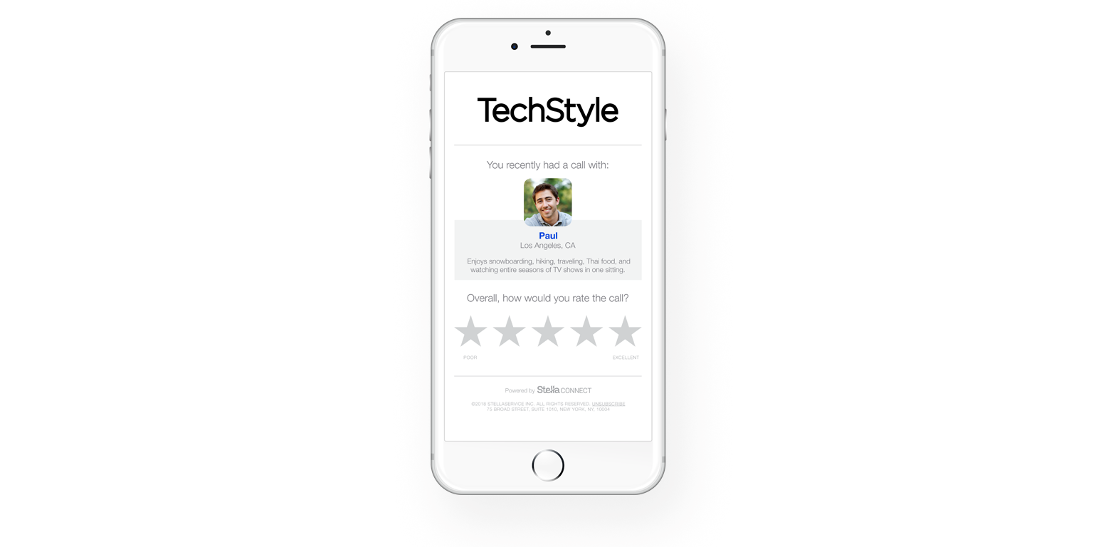 Techstyle captures customer feedback on agents through Stella Connect