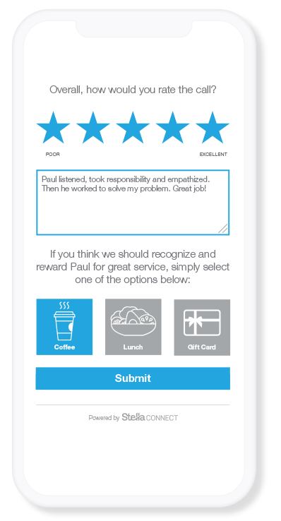 Capturing Customer Feedback comments and allowing customers to offer rewards