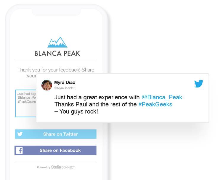 As a final step in our feedback requests, customers are invited to share their positive experiences across social.